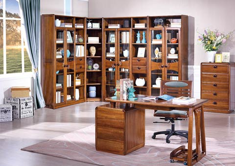 现代中式全实木书柜设计