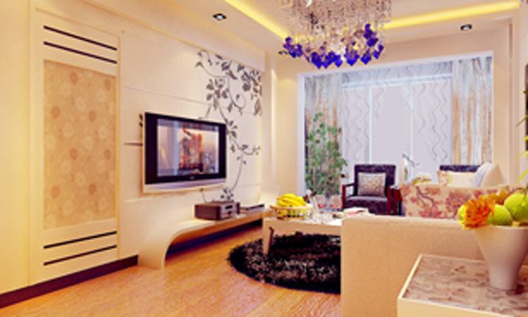 河畔花城现代简约三居室客厅效果图